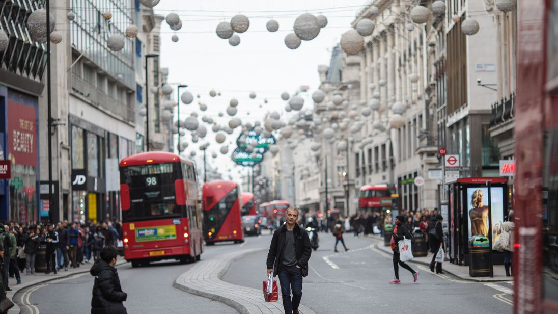 A window cleaner has fallen from a building in London's Oxford Street
