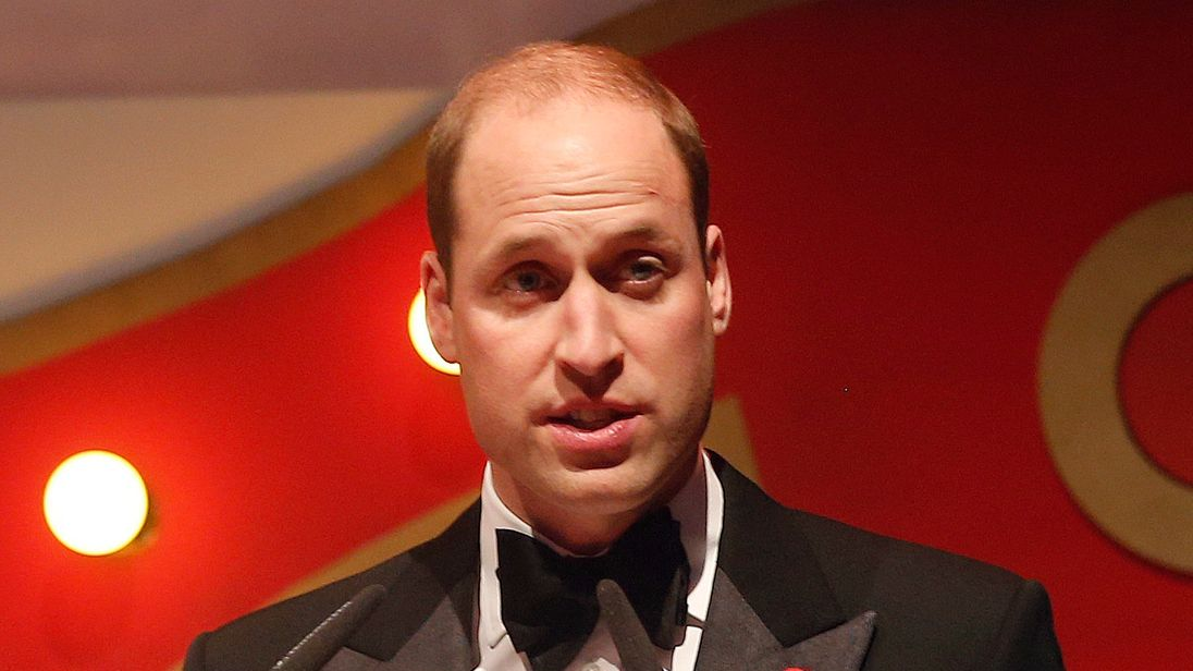 Britain's Prince William, the Duke of Cambridge, Royal Patron of SkillForce, delivers a speech as he attends the charity's annual Gala, jointly hosted by The Children's Trust in London, Monday, Nov. 6, 2017.  The evening, that has a circus theme, celebrates the start of a new partnership between the charities, which have shared aims and ambitions to improve the lives and life chances of young people. (AP Photo/Frank Augstein, pool)