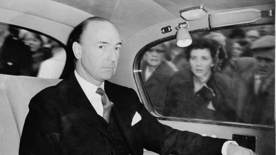 British Secretary of State for War John Profumo (1915 - 2006), arrives at the House of Commons, London, 25th October 1962