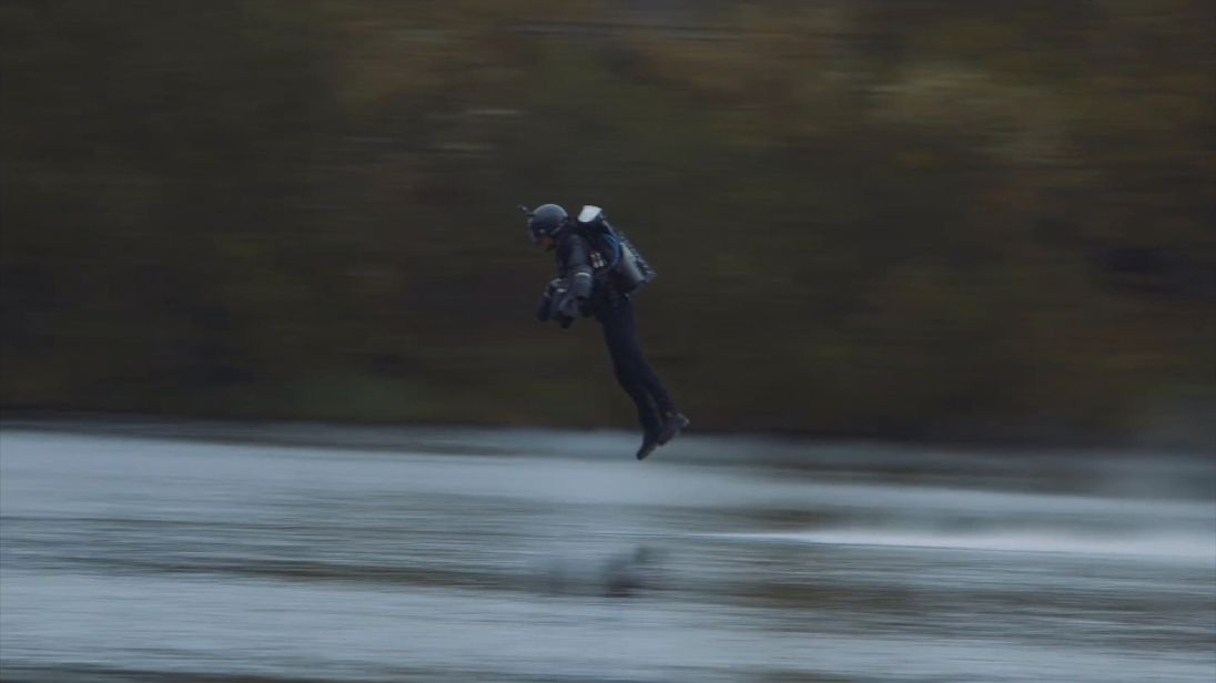 Richard Browning attempts the world record for speed in a body-controlled jet engine power suit