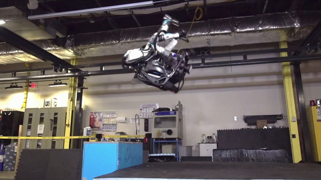The humanoid Atlas robot in mid-flip. Pic: Boston Dynamics