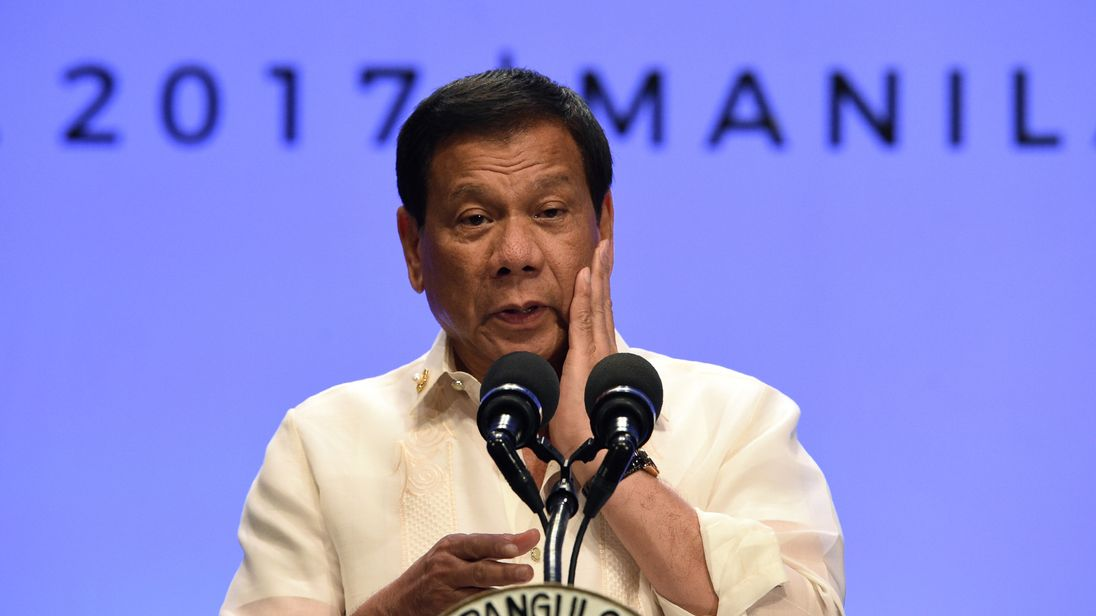 Mr Duterte rejects claims his war on drugs has created a 'climate of fear'. File pic