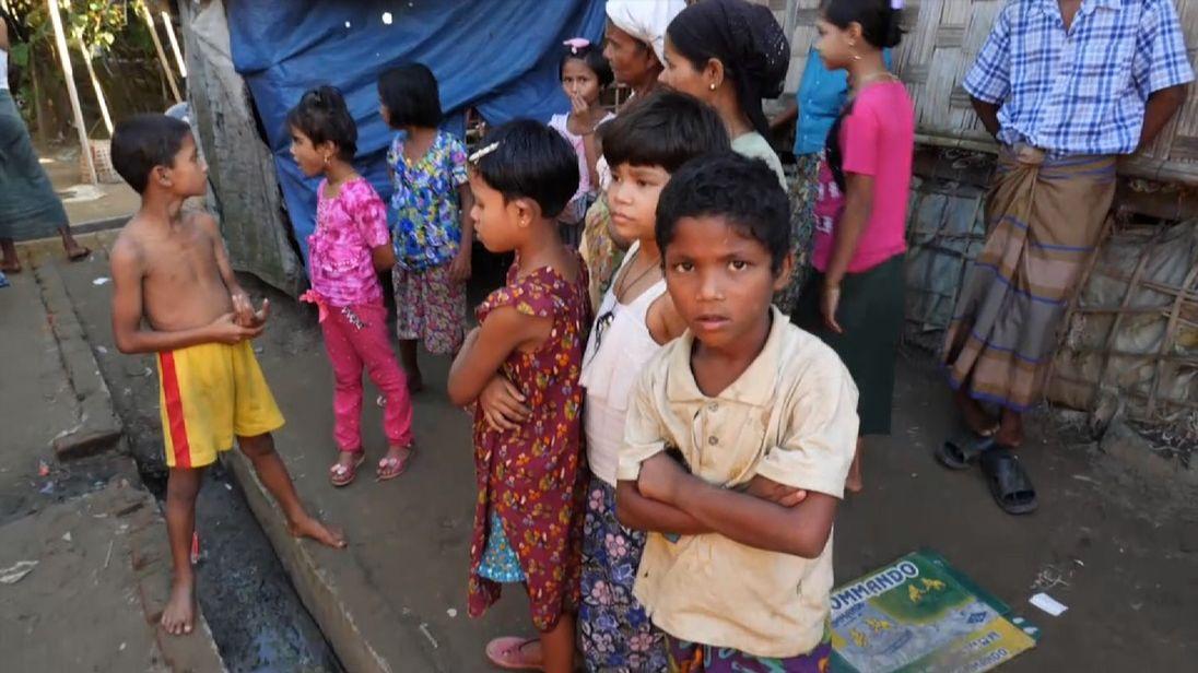 Children inside a Myanmar camp for Rohingya
