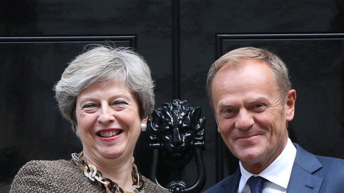 "File photo dated 26/9/2017 of Prime Minister Theresa May with President of the European Council Donald Tusk. May will reaffirm Britain's ongoing commitment to European security as she faces further pressure from EU leaders to spell out how she intends to settle the UK's Brexit ""divorce bill""."