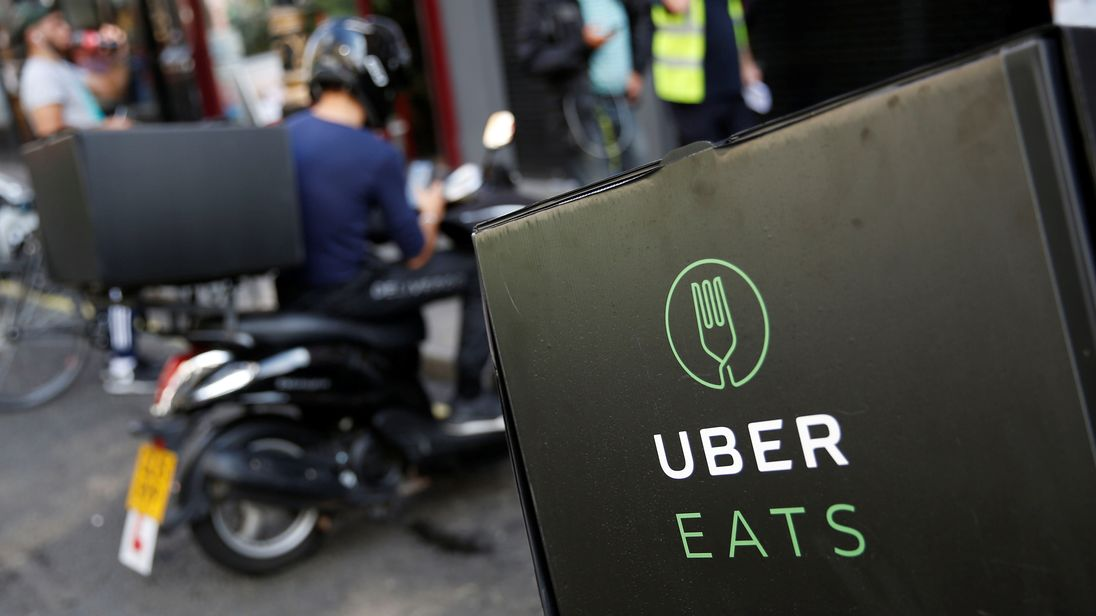 An UberEATS food delivery scooter is seen parked in London