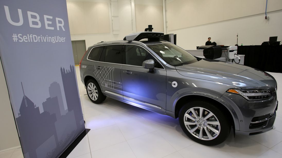 Uber's Volvo XC90 self driving car is shown during a demonstration of self-driving automotive technology in Pittsburgh Pennsylvania