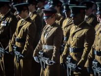 Soldiers during the Remembrance Sunday parade in Bristol city centre