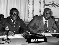 Robert Mugabe and ZAPU leader Joshua Nkomo at the Lancaster House talks in 1979