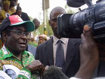 Mugabe, addresses a rally in Sanyati, November 2005, on the eve of the senatorial elections