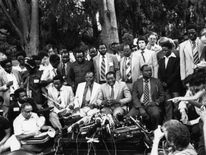 6th March 1980: Dr Robert Gabriel Mugabe, newly elected President of Zimbabwe, holds a Press Conference in his garden in Mount Pleasant, Salisbury