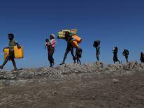 Refugees on foot at Sabrang near Teknaf, Bangladesh