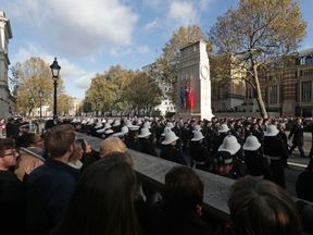 Veterans parading after the annual Remembrance Sunday Service at the Cenotaph memorial in Whitehall, central London, held in tribute for members of the armed forces who have died in major conflicts. PRESS ASSOCIATION Photo. Picture date: Sunday November 13, 2016. Photo credit should read: Yui Mok/PA Wire