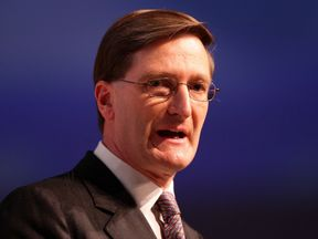 Shadow justice secretary Dominic Grieve delivers his speech to delegates during the Conservative Party Conference in Manchester.
