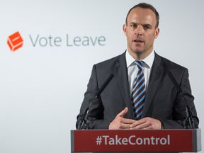 LONDON, ENGLAND - JUNE 08: Justice minister Dominic Raab gives a speech at the 'Vote Leave' campaign headquarters in Westminster on June 8, 2016 in London, England. Mr Raab was today joined by Justice Secretary Michael Gove as they made a case for Britain leaving the European Union on the basis of increased border control and security. Britain will go to the polls in a referendum on the 23rd of June on whether or not to leave the European Union. (Photo by Jack Taylor/Getty Images)