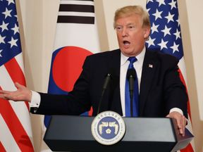 Donald Trump used more conciliatory language in Seoul