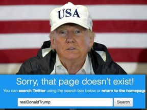 A search for Trump's Twitter handle led to an empty page