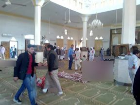 Bodies of worshippers killed in attack on mosque in the northern city of Arish, Sinai, Egypt