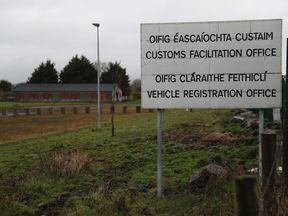 An abandoned customs post on the border between Ireland and Northern Ireland