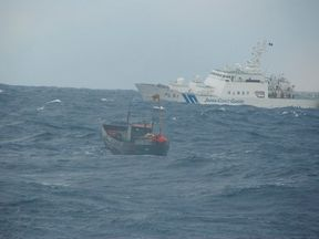 The Japan Coast Guard rescued the North Korean fishermen