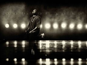 (EDITORS NOTE: Image has been converted to black and white.) Recording artist Kanye West performs onstage at the 2015 iHeartRadio Music Festival at MGM Grand Garden Arena on September 18, 2015 in Las Vegas, Nevada. (Photo by Christopher Polk/Getty Images for iHeartMedia)
