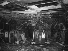 The fire-damaged escalators at King's Cross following the 1987 fire