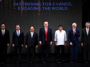 The Association of Southeast Asian Nations (ASEAN) members Thailand's Prime Minister Prayut Chan-O-Cha, Russian Prime Minister Dmitry Medvedev, Vietnam's Prime Minister Nguyen Xuan Phuc, US President Donald Trump, Philippine President Rodrigo Duterte, Australia Prime Minister Malcolm Turnbull, Singapore's Prime Minister Lee Hsien Loong, during the Opening ceremony of the 31st ASEAN Summit in Cultural Center