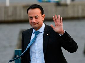Ireland's Prime minister Leo Varadkar gestures after leaving the luncheon during the European Social Summit in Sweden
