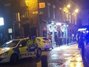 Chairs and other missiles were thrown during the brawl in Concert Square, Liverpool
