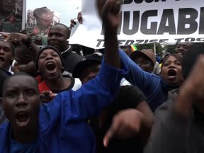 One protester told Sky News: 'I am here because I want Mugabe to go'