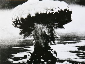 A photograph of the atomic bomb dropped in Nagasaki shows how it exploded 500 metres above ground