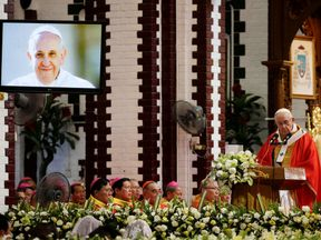 Pope Francis leads a Mass at St Mary's Cathedral in Yangon, Myanmar
