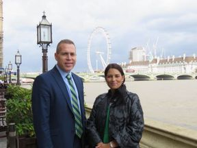 Priti Patel with Israel's public security minister Gilad Erdan in Parliament on 7 September