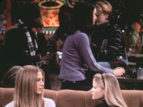 377080 01: Jennifer Aniston and Reese Witherspoon in 'Friends' (1999-2000 season, 'The One With Rachel's Sister'). Photo credit: Warner Bros. (Photo by NBC, Inc./Online USA)