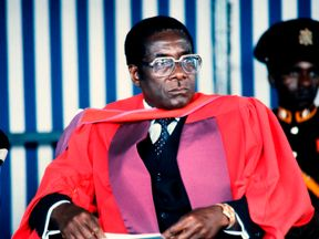 Mugabe looks on after being awarded Doctor Honoris Causa in July 1984 at the University of Harare