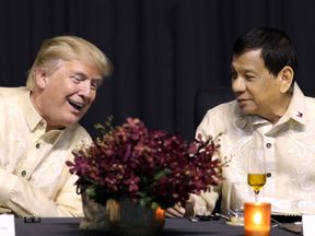 Rodrigo Duterte and Donald Trump pictured during a leaders' dinner in Manila in November 2017