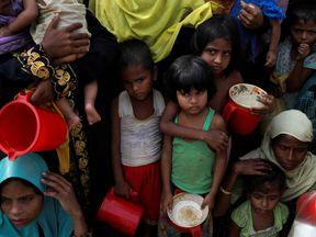 Rohingya at a refugee camp near Cox's Bazaar, Bangladesh