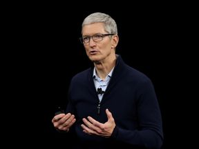 CUPERTINO, CA - SEPTEMBER 12:  Apple CEO Tim Cook speaks during an Apple special event at the Steve Jobs Theatre on the Apple Park campus on September 12, 2017 in Cupertino, California. Apple is holding their first special event at the new Apple Park campus where they are expected to unveil a new iPhone.  (Photo by Justin Sullivan/Getty Images)