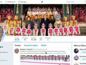 The Twitter page of Donald Trump, featuring his new banner picture posted in China