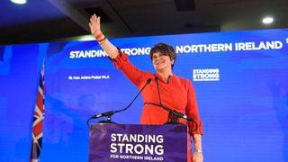 Arlene Foster acknowledges the party faithful at the DUP conference