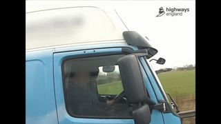 Man filmed driving truck with his left foot on dash