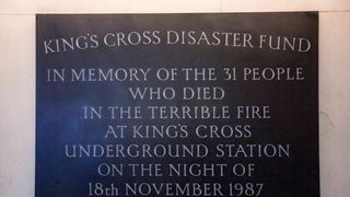 A plaque remembering the King's Cross fire which claimed the lives of 31 people in 1987