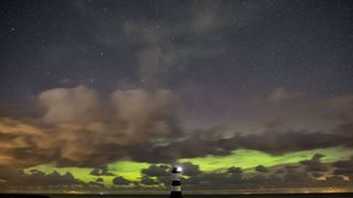 The Northern Lights seen from Penmon in Anglesey. Pic: Kevin Lewis