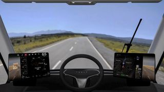 The view from the cab of the semi-autonomous truck. Pic: Tesla