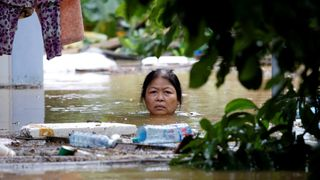 A woman wades through a submerged street at the UNESCO heritage ancient town of Hoi An after typhoon Damrey hit Vietnam