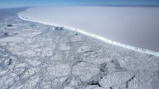 The western edge of iceberg A-68, calved from the Larsen C ice shelf, near the coast of the Antarctic Peninsula region
