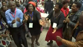 ZANU-PF party members celebrate the dismissal of leader Robert Mugabe