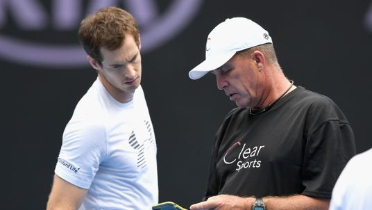 Andy Murray of Scotland talks to his coach Ivan Lendl during a practice session ahead of the 2017 Australian Open at Melbourne Park on January 15, 2017 in Melbourne, Australia
