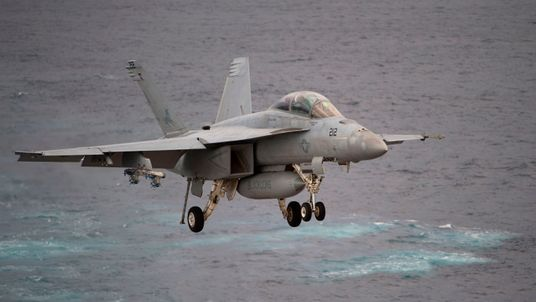 A US Navy EA-18 Growler was involved in the stunt