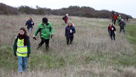 Members of the public helping the search for Gaia in Durlston Country Park