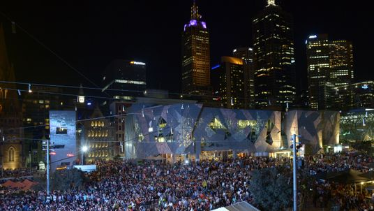 New Year's Eve party in Federation Square during New Years Eve on December 31, 2013 in Melbourne, Australia
